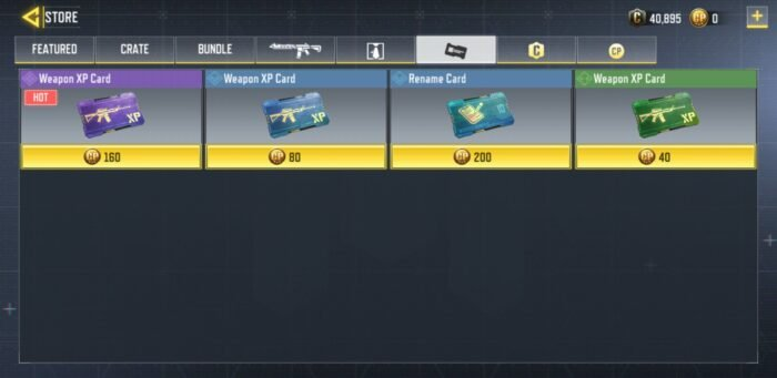 Buy Weapon XP cards from the store
