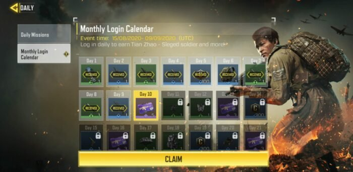 Monthly login calendar - COD Mobile