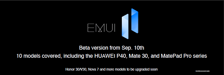 EMUI 11 Update Schedule for Huawei and Honor